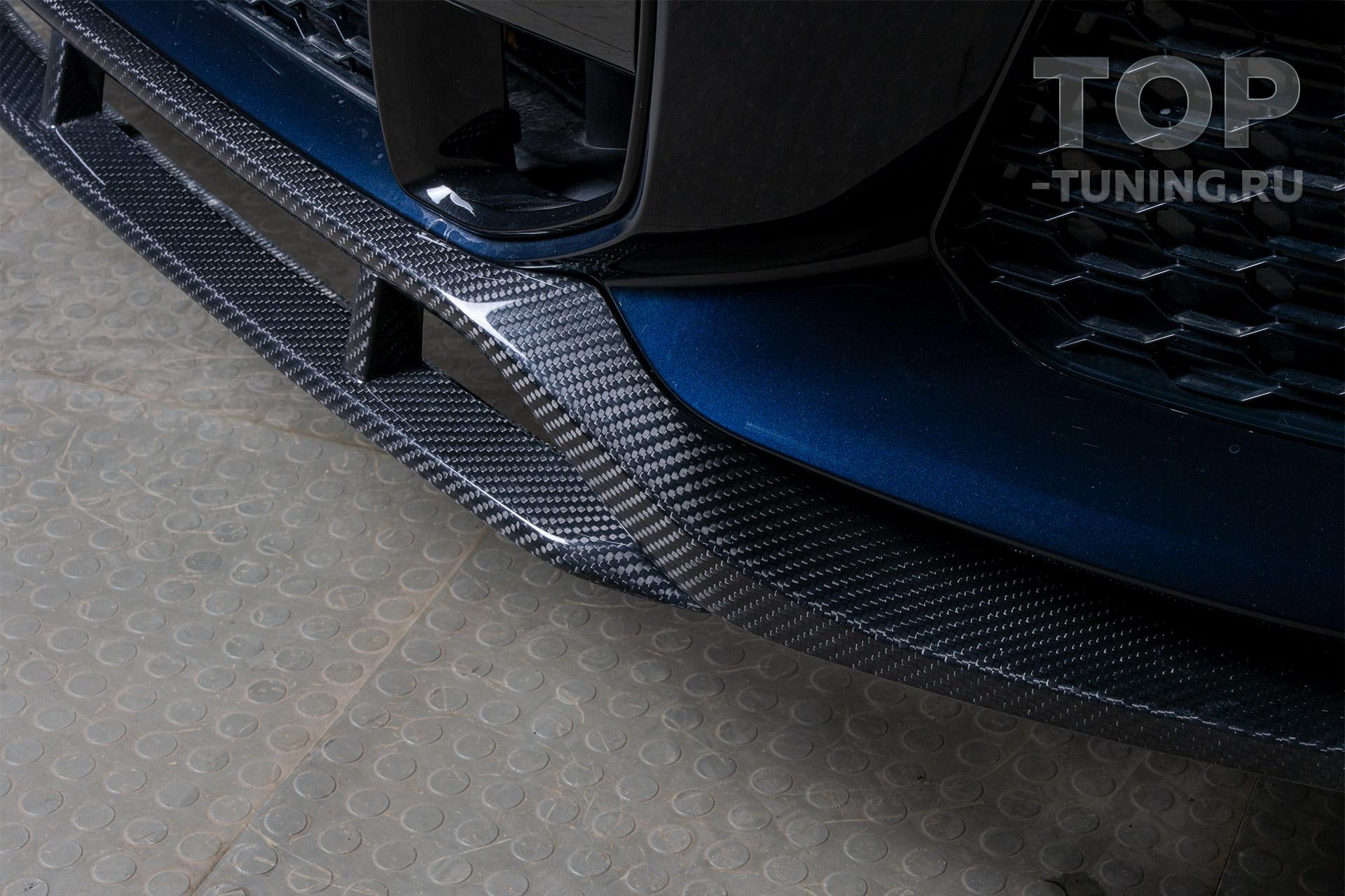 Юбка на передний бампер из карбона для БМВ Х6 (новый кузов)