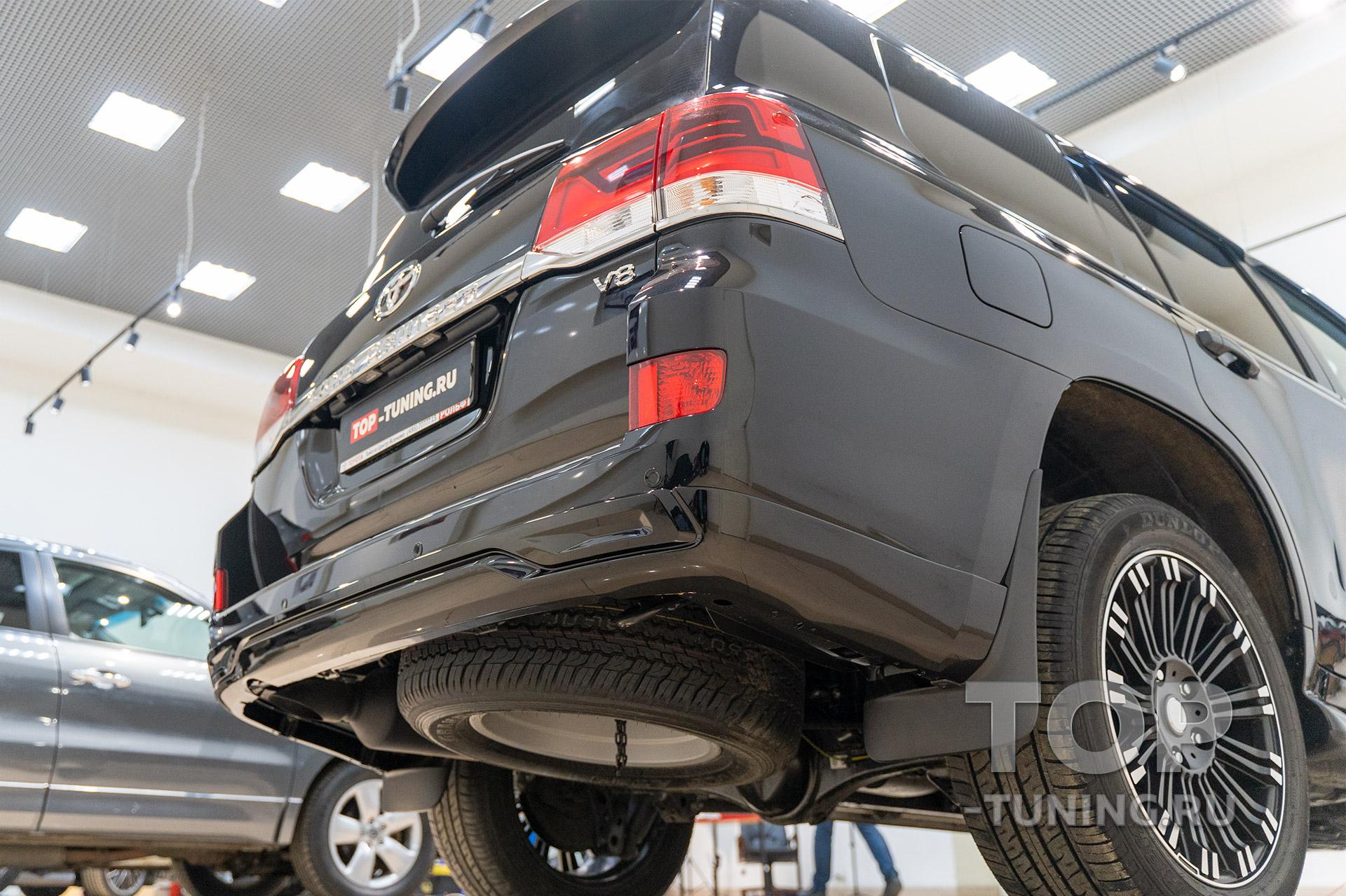 Накладка на задний бампер Тойота Лэнд Крузер 200 (установка под ключ)