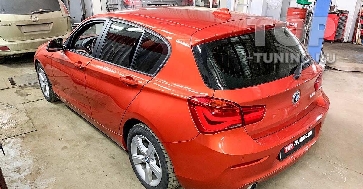 BMW 1 в кузове F20, с четырехцилиндровым двигателем 1,5 литра, приехал к нам в тюнинг ателье для установки одинарного комплекта THOR