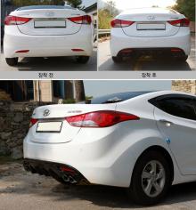 Диффузор заднего бампера с имитацией двойного выхлопа из Кореи на Hyundai Elantra (Avante MD).