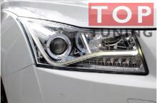 Тюнинг-оптика на Chevrolet Cruze с хромированными внутренними корпусами.