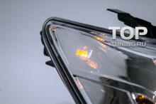 Передние фары - линзованные, с ангельскими глазками и светодиодными поворотниками - ТИП 2 - Тюнинг Тойота Камри V50. Модель TY1190 - Комплект (Левая / Правая). ХРОМ