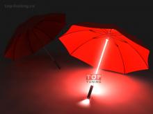Светящийся зонт с светодиодной подсветкой и фонариком.