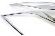 Стайлинг Киа Спортейдж 3 - накладки хромированные на переднюю оптику - от компании Auto Clover.