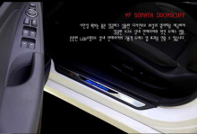 Тюнинг салона Хендай Соната - накладки на пороги в салон со светодиодной подсветкой - от ателье Change Up.