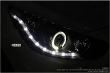 Передние фары Ауди Стайл, с светодиодами и ангельскими глазками, тюнинг Хендэ Солярис (седан, хэтчбек).