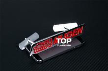 Хромированный шильд Mugen с комплектом крепежа на решетку радиатора - Размер 150*25 мм. Хромированный. Цвет: красный, черный на выбор.