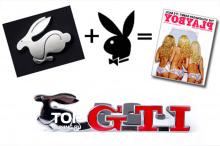 Шильд GTI Bunny - Хром, металл - Размер 130 * 33 мм. в решетку радиатора или бампер.