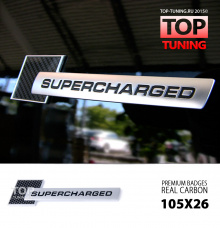 4029 Шильд алюминиевый на клеевой основе Supercharged CARBON 105x25 mm на Audi