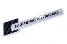 Шильд эмблема Supercharged - ABS пластик, с карбоновой вставкой. Размер 105 x 26 mm. Тюнинг АУДИ.