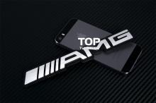 Эмблема АМГ (AMG) на черной основе - 3D наклейка. Стайлинг Мерседес Бенц. Размер 180x25 mm. Алюминий, матовая.