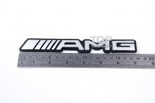 Эмблема АМГ (AMG) на черной основе - наклейка. Размер 180x25 mm. Алюминий, матовая.