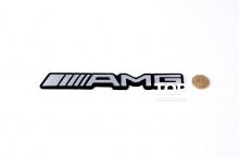 Эмблема АМГ (AMG) на черной основе - наклейка. Стайлинг Мерседес Бенц. Размер 180x25 mm. Алюминий, матовая.