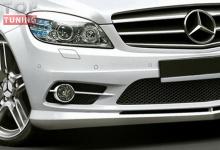 Комплект противотуманных фар (пара) для установки в передний бампер AMG Style, тюнинг Мерседес Бенц, Ц класс, 204 кузов.