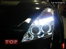 Альтернативная оптика - фары головного света с ангельскими глазками и светодиодными ходовыми огнями дневного света - Хром. Тюнинг Тойота Селика СТ 230.