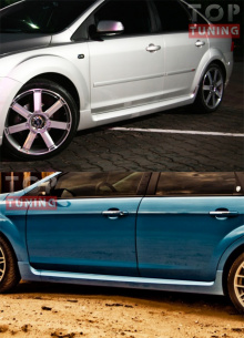 Комплект накладок на боковые пороги ST на Форд Фокус 2