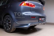 4587 Юбка на задний бампер Zodiac - одинарный выхлоп - (ABS) на Mitsubishi Lancer 10 (X)