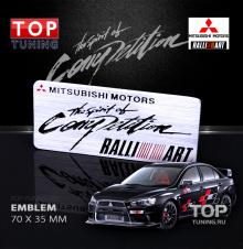 Табличка RalliArt - The spirit of Competition (Дух соперничества) - Стайлинг Mitsubishi Размер: 70 х 35 мм.