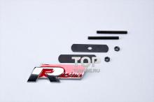 5056 Эмблема в решетку радиатора R Line 95x38 Хром на VW - КРАСНЫЙ