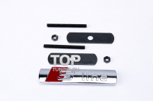 Шильдик - эмблема, на болтах в решетку радиатора - S Line AUDI. Размер - 90*17 мм. Хромированный, металл.
