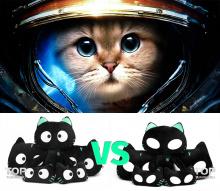 Мягкие игрушки - кошки с светящимися в темноте глазами. Купить.
