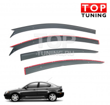 Дефлекторы окон оригинальные для Mazda 3 Sedan (до 2009 г.) темно-дымчатые, 4шт