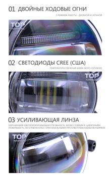 Черные светодиодные противотуманные фары с ходовыми огнями Эпик - 2 в 1 - Тюнинг оптики Subaru Impreza XV.