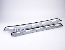 Защитные пластины на бампера - протекторы Сильвер Лайт. Тюнинг Мазда СХ5. Комплект.