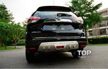 Комплект защитных накладок-протекторов на передний и задний бампер - Стайлинг Nissan X-Trail.