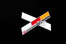 Алюминиевая эмблема-наклейка Мюген Мотор Спорт - Тюнинг  ХОНДА. Размер 120 х 23 мм.