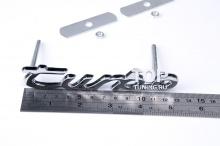 Хромированная эмблема - шильд на болтах, в решетку радиатора Porsche. Размер 130*30 мм. Металл.