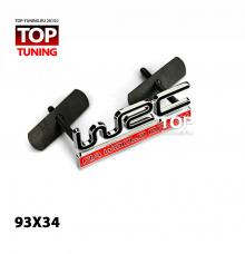 Хромированная эмблема - шильдик для решетки радиатора - WRX FIA WORLD RALLY. Рамзер 93*34 мм.