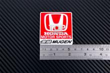 Красная эмблема МЮГЕН - Хонда Мотор Спорт - Размер 55 * 58 мм. Алюминий.