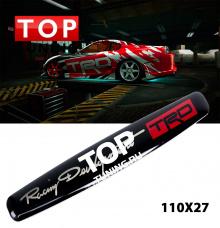 Наклейка шильдик TRD (Toyota Racing Development) Черная, на алюминиевой подложке с двусторонним скотчем. Размер 110 * 27 мм.