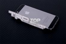 Тонкая металлическая эмблема наклейка - Модель ТРД Спортс - Тюнинг ТОЙОТА. Размер 120 * 21 мм.