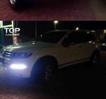 Светодиодные ходовые огни с функцией приглушения света и хромированными молдингами - Тюнинг оптики Туарег 2.