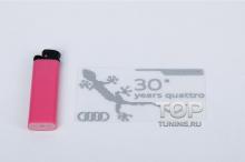 Никелевый самоклеящийся шильд - Модель Audi Quattro 30 Years - Тюнинг Ауди. Размер 100 * 55.