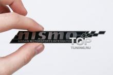 Никелевый шильд с двухсторонним скотчем - Модель Нисмо - Тюнинг Ниссан. Размер 120 * 15.