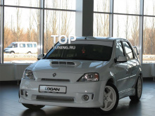 6440 Передний бампер Power DM с решеткой радиатора (дорестайлинг) на Renault Logan