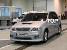 Комплект порогов - Модель Power DM ABS - Тюнинг Рено Логан (дорестайлинг, рестайлинг)