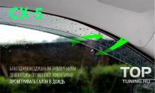 Дефлекторы окон с хромированным молдингом и кронштейнами для Мазда CX5