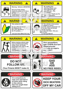 Набор виниловых наклеек в стиле Warning.