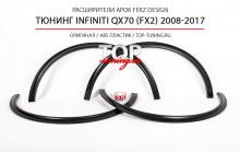 ТЮНИНГ INFINITI QX70 (FX2) 2008-2017 ШИРОКИЕ АРКИ FERZ DESIGN КОМПЛЕКТ - 4 ШТ. / ABS ПЛАСТИК / ПОД ОКРАС