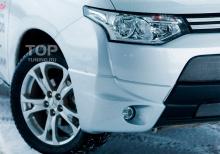 8020 Юбка на передний бампер Samurai Fiber на Mitsubishi Outlander 3