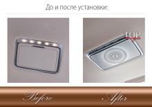 До и после установки 8602 Облицовки крышек зеркал в салон Burmester на Mercedes E-Class W213