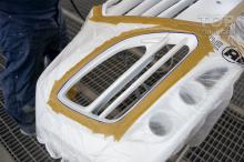 Передний бампер Ларте для Санта Фе 3 (маскирование областей бампера для контрастного окрашивания)
