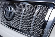 Хромированная сетка в бампер и решетку радиатора для Тойота Прадо 150
