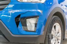 Трещина на переднем бампере - Синяя Hyundai Creta 1