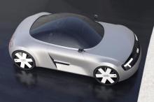 Боковой профиль подчеркивает широкую конструкцию кузова, а классические колеса в форме звездочки - еще один явный намек на Mk1. Над массивно расклешенными колесными арками находится пара старых школьных зеркал, сбалансированных на тонких стеблях, и п