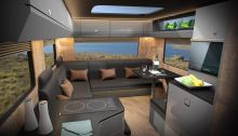 ST - самый маленький, его длина составляет от 395 см до 425 см, а высота потолка - до 200 см. Двое пассажиров получат достаточно места для сна, небольшую гостиную и даже ванную комнату. Средний LT будет предназначен для таких машин, как Gladiator и б